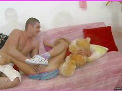 Brianna is home alone playing with her teddy bear when this sweetheart is finally approached by her stud. This Dude goes down on her pussy and laps up each drop of her wet twat and then this stud fucks her cum-hole hole with a purple sex-toy. That Dude fingers her tight little chocolate hole as this stud stretches the muscle. This Hottie takes a double penetration of the sex-toy and his fingers in her holes. BriannaтАЩs gazoo is admirable and tight and heтАЩs doing his majority fine to stretch it for his pecker as this chab fingers her and stretches her muscle. Then little Brianna takes him in her face hole as heтАЩs still trying to stretch her open for his shlong. That Dude bonks her cum-hole for several minutes and then starts the task of putting the tip of his weenie her ass in as that sweetheart squirms. Finally that sweetheart sucks him off on the ottoman as that stud cums in her mouth.