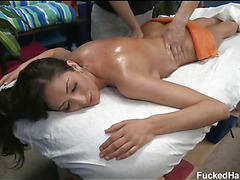 These 3 angels drilled hard by their massage therapist after getting a soothing rubdown