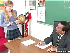 Naughty schoolgirl does her superlatively priceless to please a big aged schlong