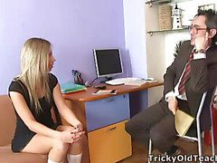 Blonde sweetheart came to the professor's office and in a during the time that his chubby dick was sliding betwixt her soft muff lips.