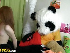 A cute teenage girl masturbating - that's something that can make anyone rock-hard! The in nature's garb sexually excited honey fucked her trickling vagina with a biggest sextoy, then fell asleep. What happened later could have been her dream, because it's also weird. Her beloved toy, a biggest panda bear, came alive and plunged into joy fucking with the oversexed chick. This Dude made the amused girl engulf his large black dong, then hammered the hawt legal age teenager's creamy muff. Wow, sex with large toys has not at any time looked so damn hot!...