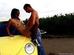 Berta wanted to go for a drive, but that honey didn`t tell her lucky boyfriend where this was going to end up. That Playgirl wanted some place where they could be alone and no one could hear her. This legal age teenager nympho is a loud moaner and when this stud truly begins to fuck her hard, it`s becomes truly difficult for her to stay quiet. But in this spot that`s in the centre of nowhere, they can be as loud as they want. They`re not holding back everything this time. That Man pounds her impure cleft right on the hood of the car and covers her face with cum.