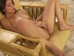 Cutie is exposing her delights and play with tireless sex-toy