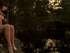 Check out a ardent legal age teenager fucking scene outdoors during sunset