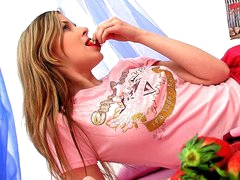 Lascivious dilettante blond legal age teenager Spunky Bee dildoing her constricted slit