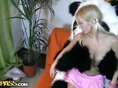 This nice-looking legal age teenager angel and her panda bear sure have much pleasure together! They listen to the music, sing along and dance. But why not doing something kinkier than just dance? So the blondie disrobes in nature's garb, playing with a big sex tool. This makes the panda bear lascivious as hell, and luckily, this chab has something to satisfy his naughty ally's lust! A big strapon is willing to pierce the hotty's leaking hole, to make her forget about everything and plunge into salacious pleasure fucking. This amazing teenporn video scene is sure ...