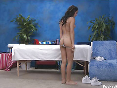 Hot 18 year old playgirl acquires drilled hard from behind by her massage therapist