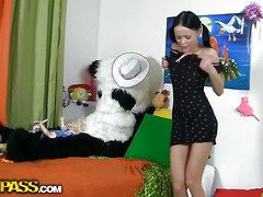 This nice-looking teenage playgirl was just playing with her toys and having fun, but suddenly this honey realized that her big panda bear wasn't actually a toy. But don't u be scared, busty teenage gal, that guy's not plan to damage u. All that dude craves is a little sex play. So why not try to have sexy sex with him, and moreover, panda's dark megadildo looks actually arousing. And guess what, panda bear knows so many sex poses, his shagging skills are actually impressive! This perverted sex movie is a must-watch if u're into joy porn...