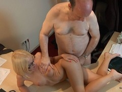 This youthful golden-haired lady doctor knows well how to treat an old chap during the time that medical examination. That Chick applies him a modern therapy which consist in long licking balls, intensive 10-Pounder sucking and fuck