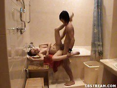 Tonight, this legal age teenager and her boyfriend setup a clip camera in the washroom. They`ve recorded their sex filled adventures in the bedroom, even the living room, but this is the 1st time that they had a camera here. It records some very hawt and steamy action.
