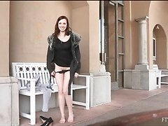 Girlie is widening lengthy legs wide and pushes sex tool in gap