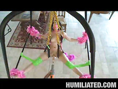 Madison had a blast getting bound up with feather boas on a sex swing and having her throat gagged to keep this little bawdy legal age teenager whore from making also much noise. Her legs were spread wide open and was leaking with cum, begging to be fucked! We sprayed party string all over and cranked the fuck machine on high just in advance of that hottie took a pounding from a hard shlong...