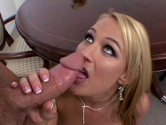 Golden-Haired woman with green eyes enjoys sucking his biggest dong.