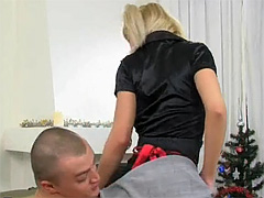 Pigtailed golden-haired sweetie strokes and sucks a biggest 10-Pounder