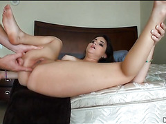 Big piece of meat is entering face hole and asshole of one hot beauty