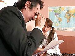 Valya came to the teacher's office to pass the test and suddenly the old guy came closer and started peting the coed.