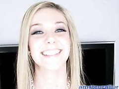 Glamorous dilettante legal age teenager sweetheart sucks and deep throats strapon and then uses her hand to jerk out a big stick load of cum and eats it off her fingers.