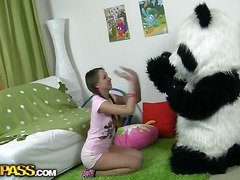 In this unusual sex video u'll see a pretty teenage girl playing with toy. But it's not just a toy, it's a big panda bear, and this guy's so joy to play with! This Chab can do everything the cutie wants, but this hottie should disrobe nude in return. But imagine the angel's surprise when that hottie saw panda's biggest thong on! This Playgirl had not at any time thought of him as sex partner previous to, but since this chab's so well-equipped and horny, why not go for a naughty sex play with him? So the panda bear gangbanged the breasty teenage in all possible positions ...